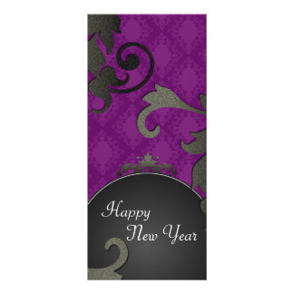 New Years Party Invite - Black & Purple Damask Personalized Rack Card