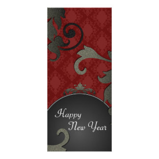 New Years Party Invite - Black & Red Floral Damask Rack Card Template