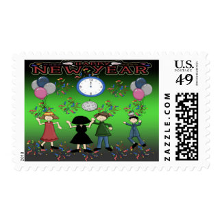 New Year's Party Postage Stamps