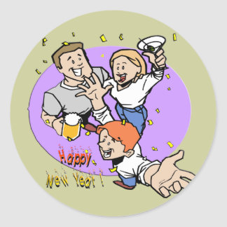New Year's Partyers Classic Round Sticker