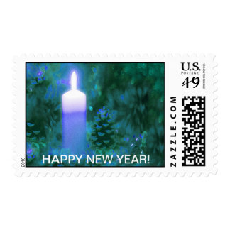 NEW YEARS POSTAGE STAMP-BLUE CANDLE IN PINECONES