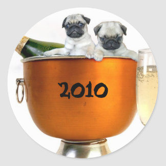 New Years pugs 2010 stickers