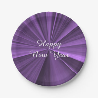 New Years Purple Paper Plates by Janz 7 inch