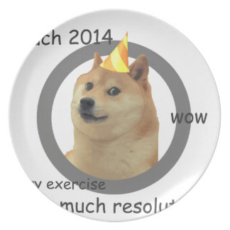 New Years Resolution Doge Dinner Plate