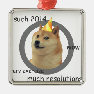 New Years Resolution Doge Metal Ornament