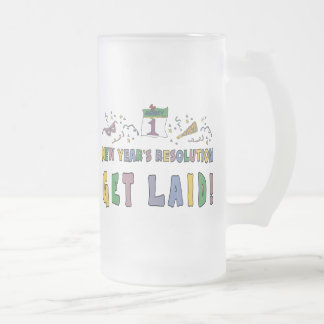 New Years Resolution Frosted Glass Beer Mug