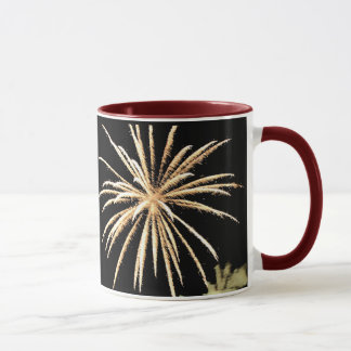 New Years Resolution Mug, Gold Fireworks Mug