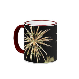 New Years Resolution Mug, Gold Fireworks Ringer Mug