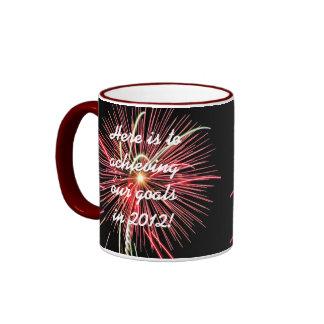 New Years Resolution Mug, Red Fireworks 2012 Ringer Mug