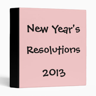 New Year's Resolutions, 2013 Binder