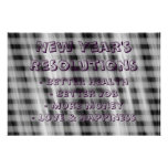New Year's Resolutions Abstract black white Poster