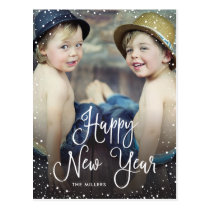 New Years Snow Holiday Photo Postcard