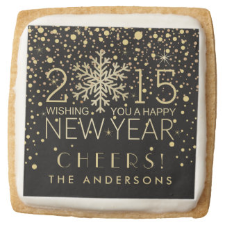 New Years Snowflake Gold Confetti Holiday Party Square Premium Shortbread Cookie