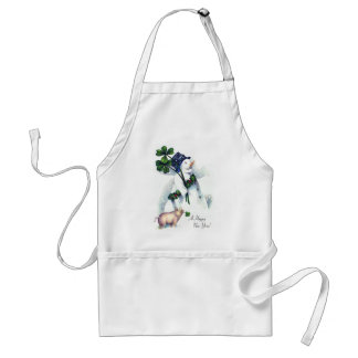 New Year's Snowman with Lucky Pig Adult Apron