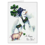 New Year's Snowman with Lucky Pig Cards