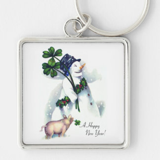 New Year's Snowman with Lucky Pig Silver-Colored Square Keychain