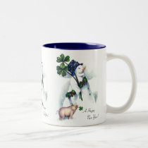 New Year's Snowman with Lucky Pig Two-Tone Coffee Mug