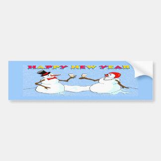 New Year's Snowmen Car Bumper Sticker