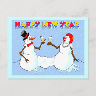 New Year's Snowmen Holiday Postcard