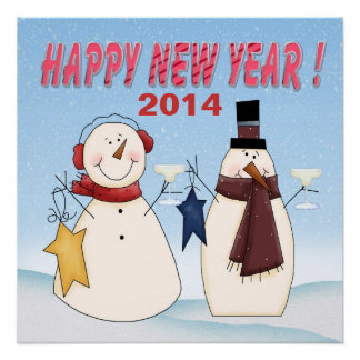 "New Year's Snowmen Poster 20""x20"""