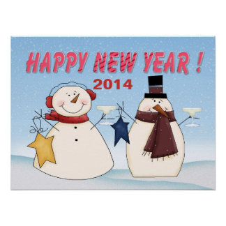 New Year's Snowmen Poster/Print Poster