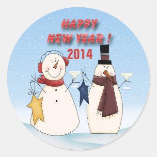 New Year's Snowmen Round Stickers