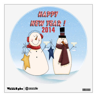 New Year's Snowmen Round Wall Decal