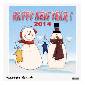 New Year's Snowmen Square Wall Decal