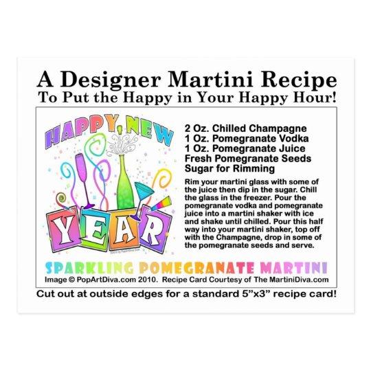 New Year's Sparkling Pomegranate Martini Recipe Po Postcard