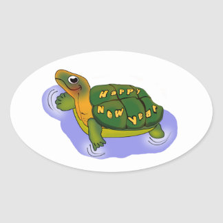 New Years Turtle Oval Sticker