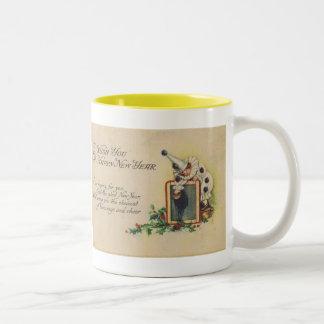 New Years vintage postcard 1916 Two-Tone Coffee Mug