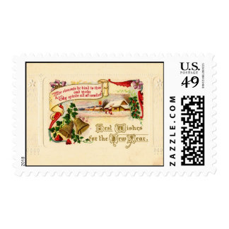 New Years vintage postcard circa 1910 Stamp