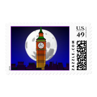 NEW YEARS w/ CHIME BIG BEN CLOCK TOWER NIGHT STAMP