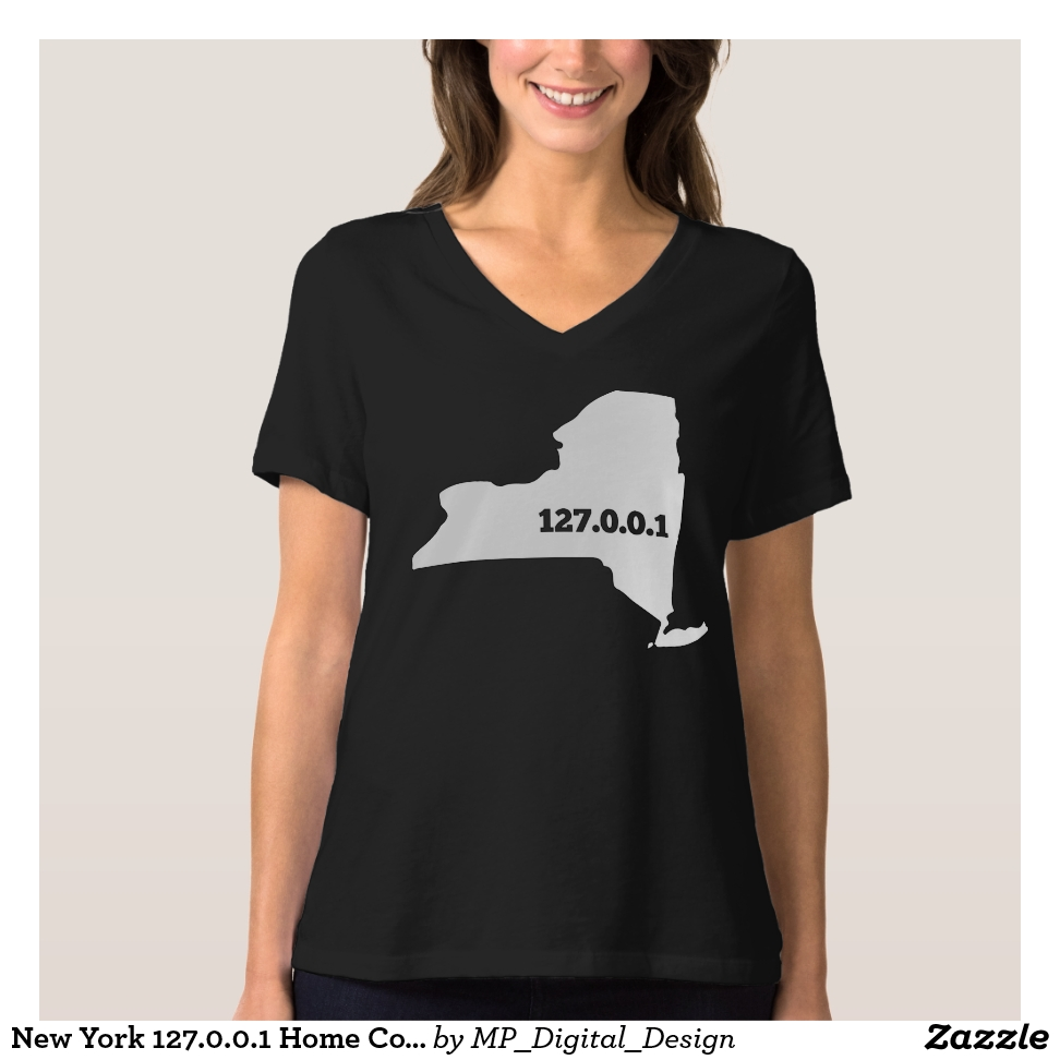 New York 127.0.0.1 Home Computer Nerd IP Address T-Shirt - Best Selling Long-Sleeve Street Fashion Shirt Designs