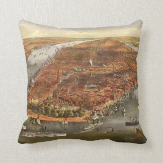 New York 1870s birds eye view old vintage map Throw Pillow
