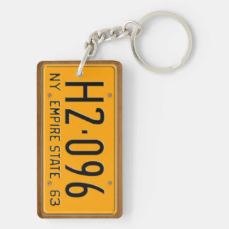 New York 1963 Vintage License Plate Keychain Rectangular Acrylic Key Chain