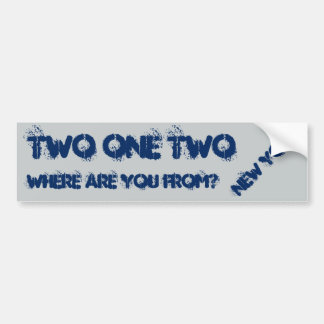 New York 212 area code. Car Bumper Sticker