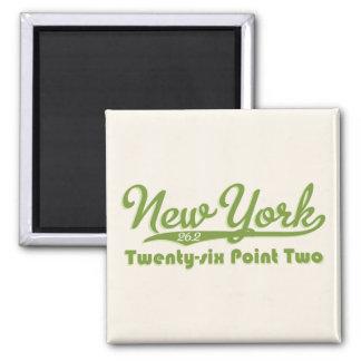 New York 26.2 Green Marathon Button 2 Inch Square Magnet