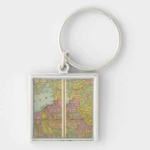 New York 29 Silver-Colored Square Keychain