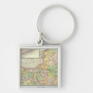 New York 31 Silver-Colored Square Keychain