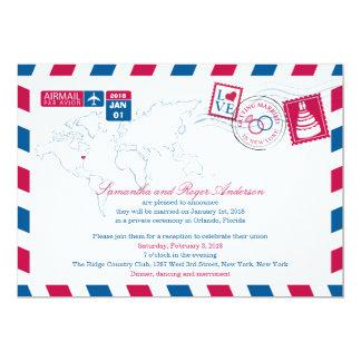 New York Airmail Post Wedding Reception Card
