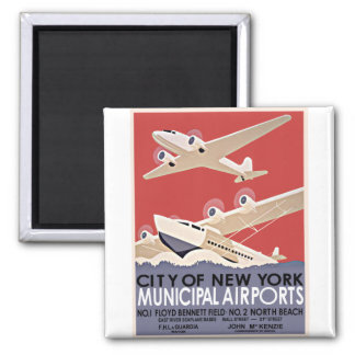 New York Airports Vintage Poster - circa 1930 Magnets