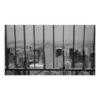 New York and Central Park Black & White Poster