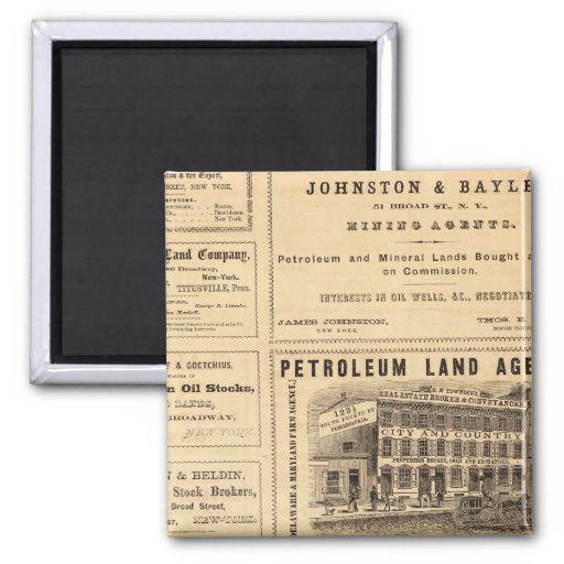 New York and Pennsylvania Oil Advertisements 2 Inch Square Magnet