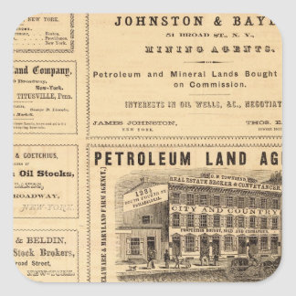 New York and Pennsylvania Oil Advertisements Square Sticker