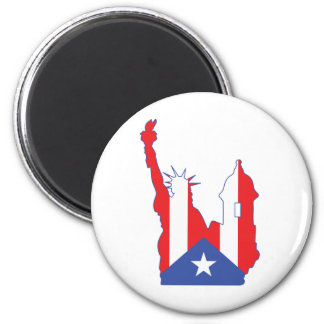 new york and puerto symbol merged 2 inch round magnet