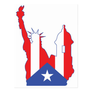new york and puerto symbol merged postcard