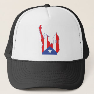 new york and puerto symbol merged trucker hat