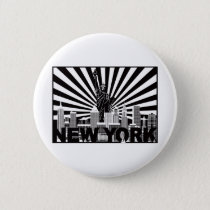 New York and Statue of Liberty sun rays background Button
