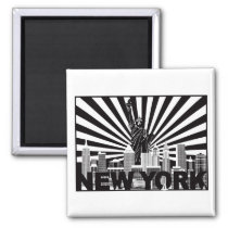 New York and Statue of Liberty sun rays background Magnet